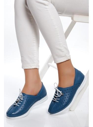 Derithy Hakiki Deri Sneaker Mavi